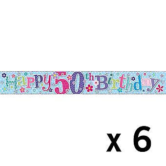 Simon Elvin Foil Banner 50th Birthday (6 Pack)