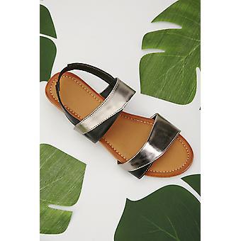 Kontrast Metallic Slingback Sandalen