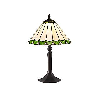 1 Light Octagonal Table Lamp E27 With 30cm Tiffany Shade, Green, Crystal, Aged Antique Brass