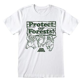 ¡Los hombres y los ewoks de Star Wars protegen nuestros bosques! Camiseta blanca