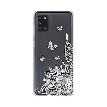 Runko Samsung Galaxy A31 pehmeä mandala kukka ja valkoinen perhosia