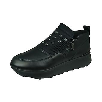 Geox D Gendry C Womens Leather Trainers -Black