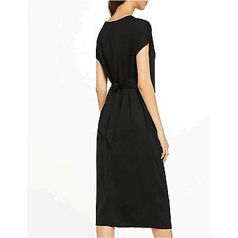 MERAKI Women's Relaxed Fit Maxi Wrap Dress, Black, EU S (EUA 4-6)
