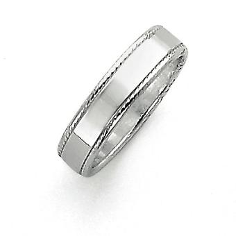 925 Sterling Silver Solid Polished Engravable 5mm Design Edge Band Ring - Ring Size: 4 to 12