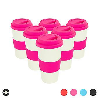 Reusable Coffee Cups - Bamboo Fibre Travel Mugs with Silicone Lid, Sleeve - 400ml (14oz) - Pink - Pack of 6