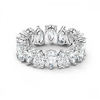 טבעת סברובסקי בציפוי רודיום לבן