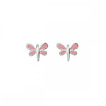 Begyndelser sterling sølv A827P emalje Dragonfly stud øreringe
