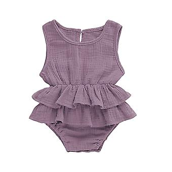 Solid Newborn Kid Baby Clothes Sleeveless Romper Tutu Dress Sunsuit Outfit