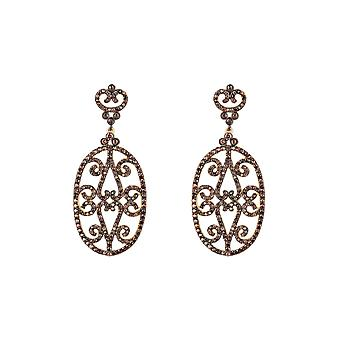 Chocolate Brown Belle Oval CZ Gemstone Bridal Statement Gift Gold Drop Earrings