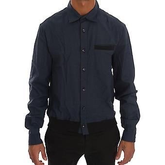 Galliano Blue Casual Cotton Stretch Long Sleeve Shirt