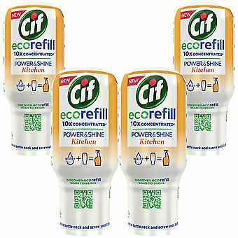 4pk of 70ml Cif Power & Shine eco refill for Kitchen with 10x concentrated