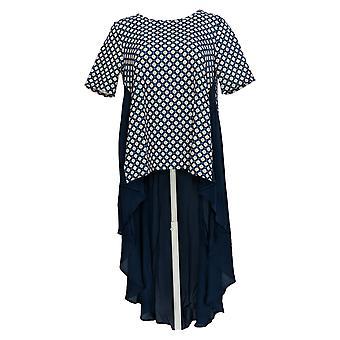 DG2 par Diane Gilman Women-apos;s Top Blue Draped Duster Short Sleeve 710-949