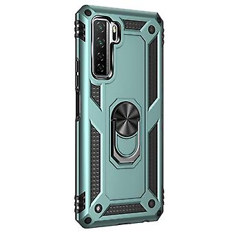 For Huawei P40 Lite 5G Shockproof TPU + PC Protective Case with 360 Degree Rotating Holder(Deep Green)