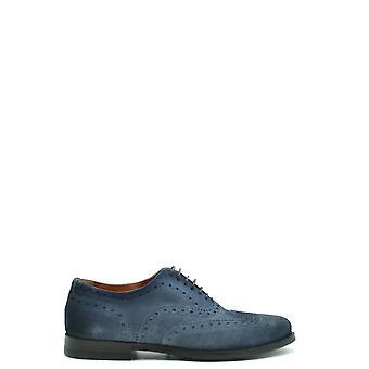 Santoni Ezbc023025 Men's Blue Suede Lace-up Shoes