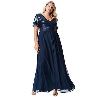 Plus size sequin chiffon short sleeved maxi dress