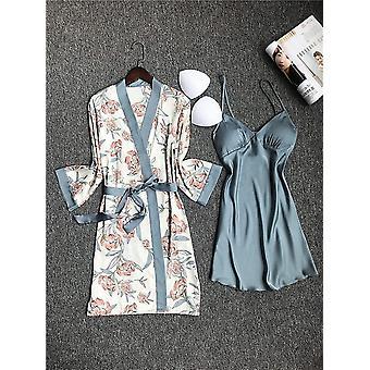 Pyjamas en soie femme printemps/automne avec garnitures poitrine Pyjama imprimé fleur