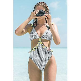 Geometric Print Ruffle Swimsuit