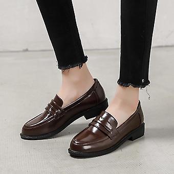Läder Flats British Street Skor Ladies Derby Skor College Loafers Kvinnor