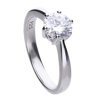 Diamonfire 925 Plata de ley 1.5ct Cubic Zirconia Claw Set Solitaire Ring