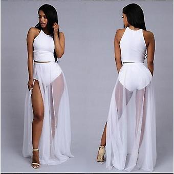女性ハイウエストメッシュ帝国透けサイドスプリットスカートを通して見る