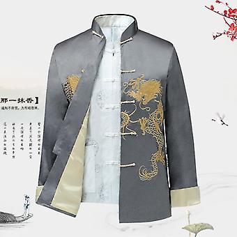 Perinteinen kiinalaistyylinen kirjonta Dragon Hanfu Pusero Puku T-paidat Toppaat