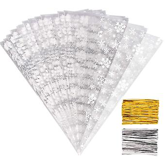 Whaline 100 pieces christmas snowflakes cone bags sweet clear cello bags treat bags with 50 gold and