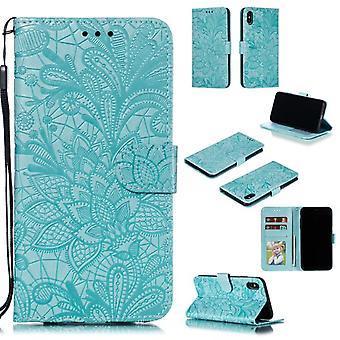Apple iPhone X / XS Multifunctionele Flower Flip Cover - Groen