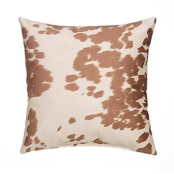 """Faux Cowhide Sueded Square Pillow 18"""" X 18"""", Tan"""