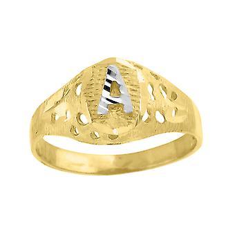 10k kaksi sävy kultaa vauva pojille tai tytöilleLetter Nimi Henkilökohtainen Monogram ensimmäinen Band Ring Toimenpiteet 7.5x2.20mm Wide S