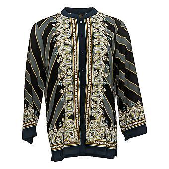 Bob Mackie Women's Top Bombay Print Button Front Shirt Noir A377971