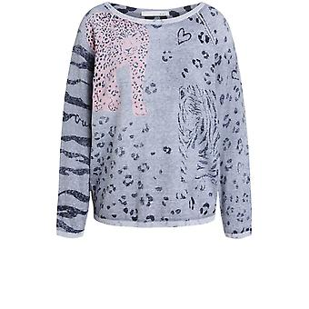 Oui Grey Leopard Jumper