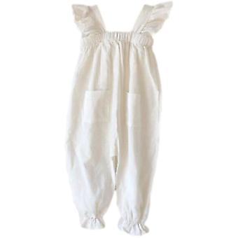 Sommer Baumwolle Casual, einteiligefliegen, Ärmel-Spitze Tasche, Overalls Jumpsuit