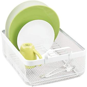 mDesign Dish Rack — Dish Drainer with 6 Slots for Dishes — Cutlery, Glassware