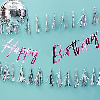 Hot Foiled Pink HAPPY BIRTHDAY BUNTING 2m Paper Garland Party Decoration