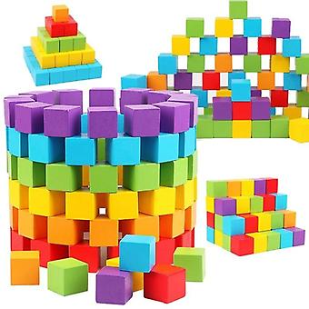 Colorful Wooden Cube Building Block Toy