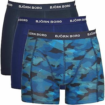 Björn Borg 3 Pack Shadeline shortsit, Navy/Print/sininen, suuri