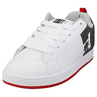 DC Shoes Court Graffik Mens Skate Trainers in White Red Grey