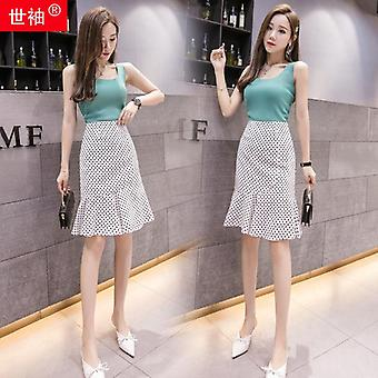 Summer Women Mermaid Skirt, Elegant High Waist, Slim, Office Lady Knee Length