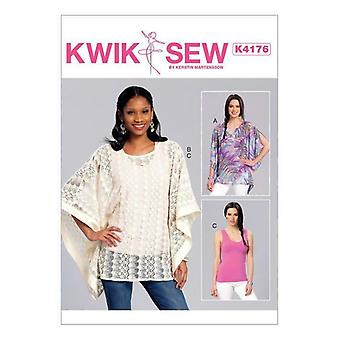 Kwik Sew Sewing Pattern 4176 Misses Notch-Neck Banded Ponchos Top XS-XL UC