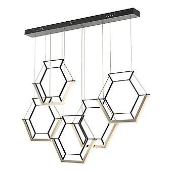 DAR HEXAGON Kuusion klusteri riipus Vaalea Musta LED, 5x LED