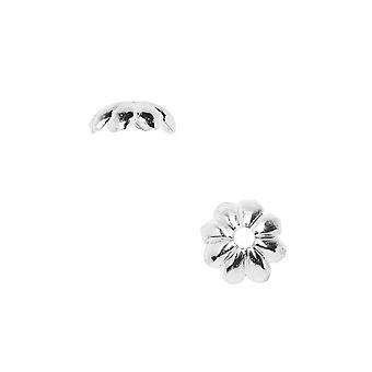 Nunn Design Bead Caps, 6mm Floral Petals, 4 Pieces, Bright Silver