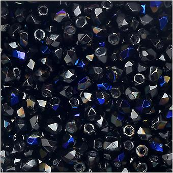 True2 Czech Fire Polished Glass, Faceted Round Beads 2mm, 50 Pieces, Jet Azuro