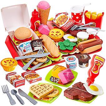 FengChun 63 Stck Lebensmittel Kinder Kchenspielzeug Hamburger Schnitt Gemse Spielzeug