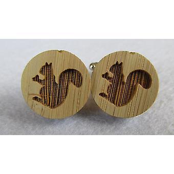 Cufflinks wooden squirrel wood natural