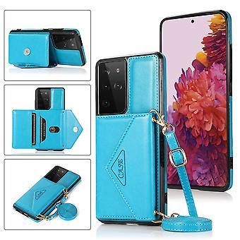 Leather wallet case for samsung a41 blue pns-700