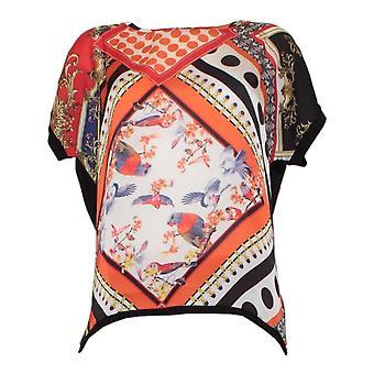 Oui Orange Boho Print Drop Sleeve T-shirt med silke effekt fram