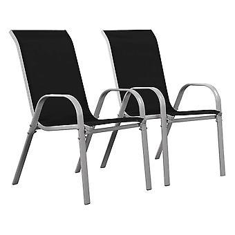 """Juego de 2 sillas jardín Textileno """"Cordoba"""" - Phoenix - Negro"""