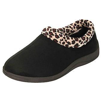 JWF Slippers Memory Foam House Shoe Black