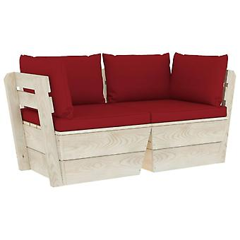 vidaXL trädgårdspall soffa 2-sits med kudde gran trä