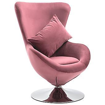 כיסא מסתובב vidaXL בצורת ביצה עם קטיפה ורודה כרית